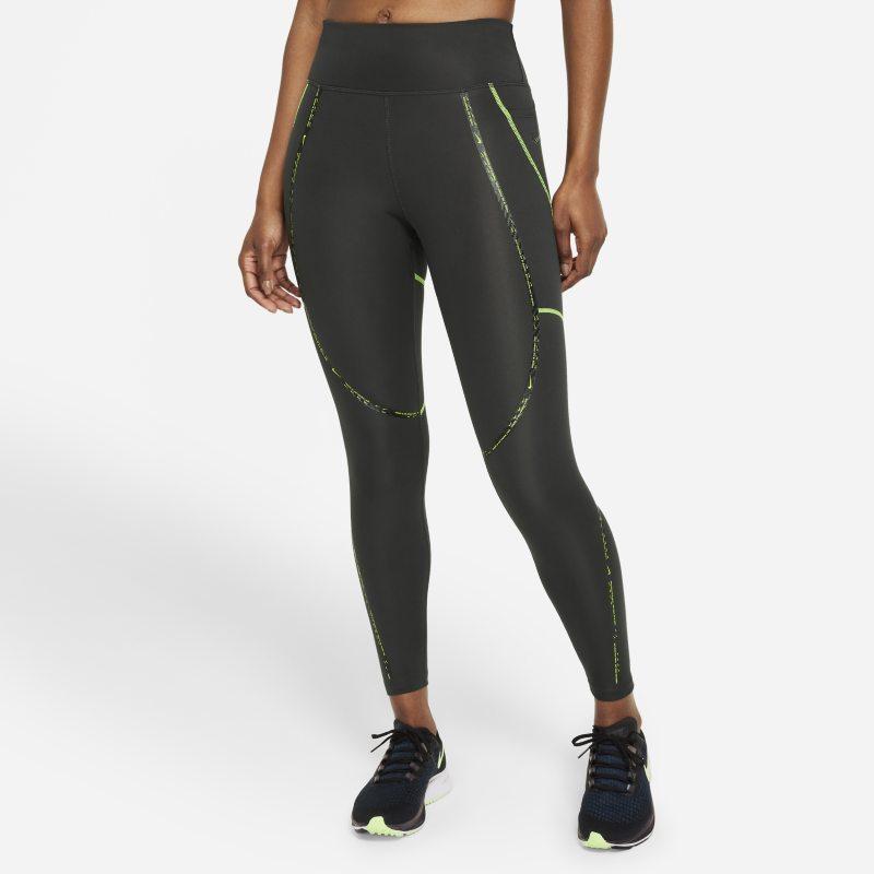 Nike Epic Faster Leggings de running de 7/8 de talle medio con estampado - Mujer - Gris