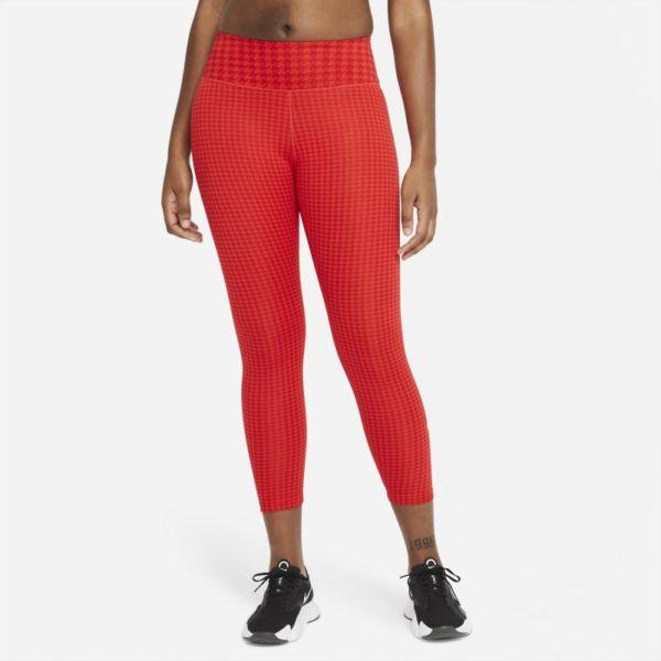 Nike Dri-FIT One Icon Clash Leggings de 7/8 de talle medio con estampado - Mujer - Rojo