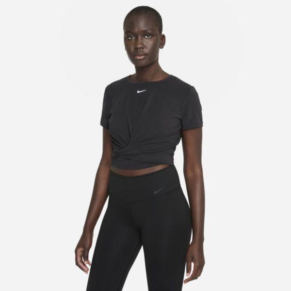 Nike Dri-FIT One Luxe Camiseta de manga corta de ajuste estándar retorcida - Mujer - Negro