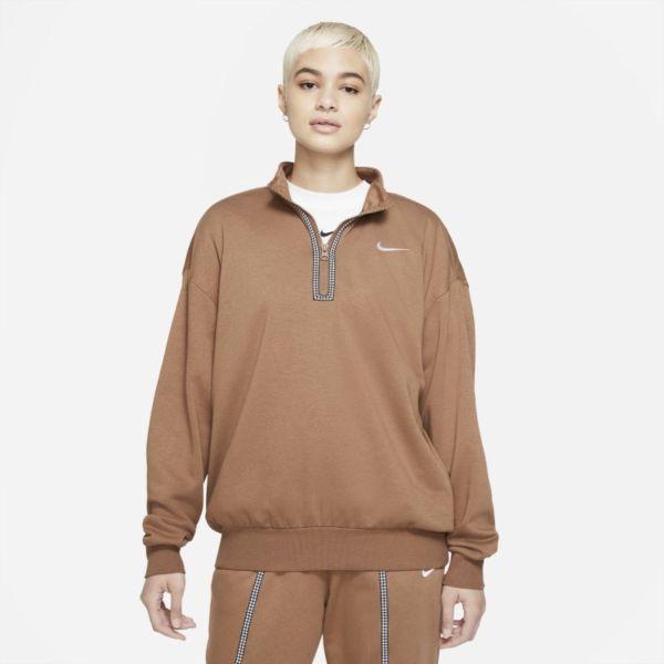 Nike Sportswear Icon Clash Camiseta con media cremallera - Mujer - Marrón