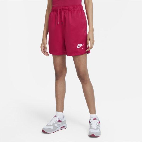 Nike Air Pantalón corto de talle alto de tejido Woven - Mujer - Rojo
