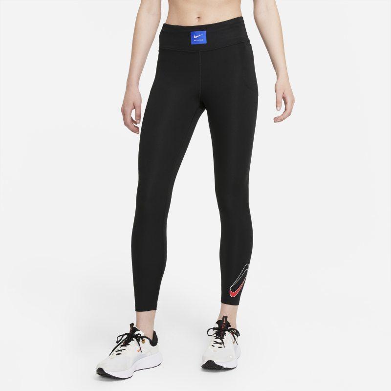 Nike Dri-FIT Retro Run Faster Leggings de running de 7/8 de talle medio - Mujer - Negro