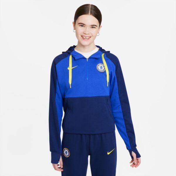 Chelsea FC Sudadera con capucha de fútbol de tejido Fleece y cremallera 1/4 - Mujer - Azul