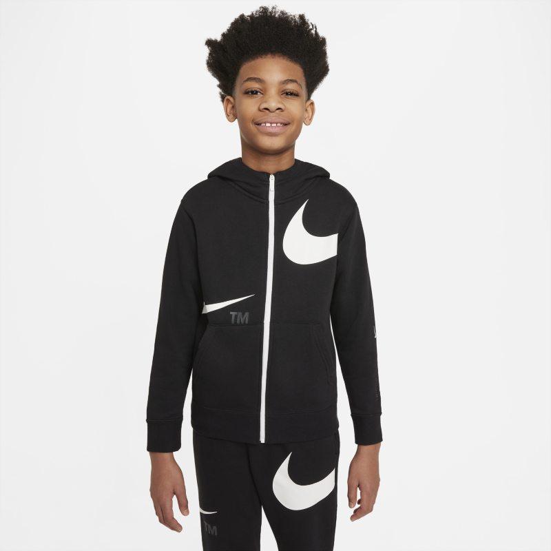 Nike Sportswear Swoosh Sudadera con capucha con cremallera completa de tejido Fleece - Niño - Negro