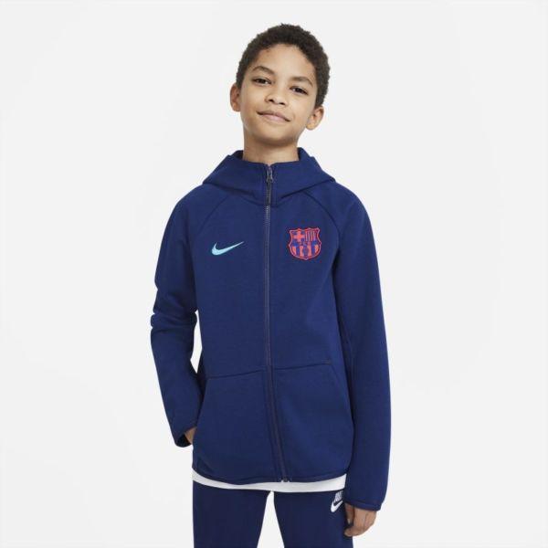 FC Barcelona Tech Fleece Sudadera con capucha de fútbol con cremallera completa - Niño/a - Azul