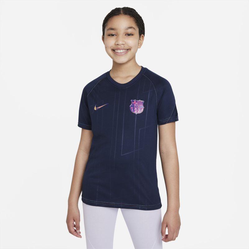 Segunda equipación FC Barcelona Camiseta de fútbol para antes del partido Nike Dri-FIT - Niño/a - Azul