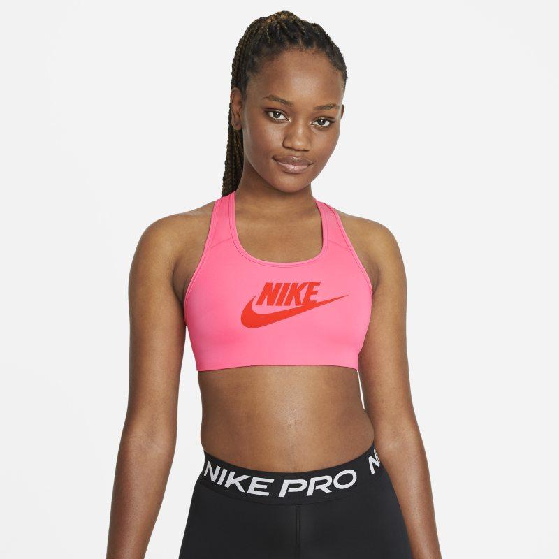 Nike Dri-FIT Swoosh Sujetador deportivo de sujeción media sin almohadilla con estampado - Mujer - Rosa