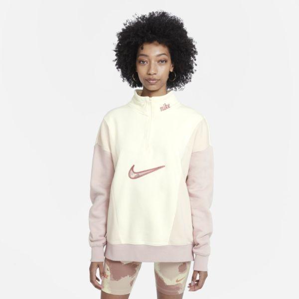 Nike Sportswear Sudadera de tejido Fleece con cremallera de 1/4 - Mujer - Blanco