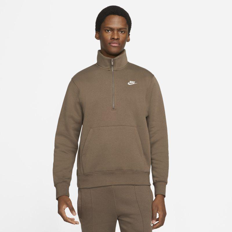 Nike Sportswear Chaqueta de media cremallera de tejido Fleece - Hombre - Marrón