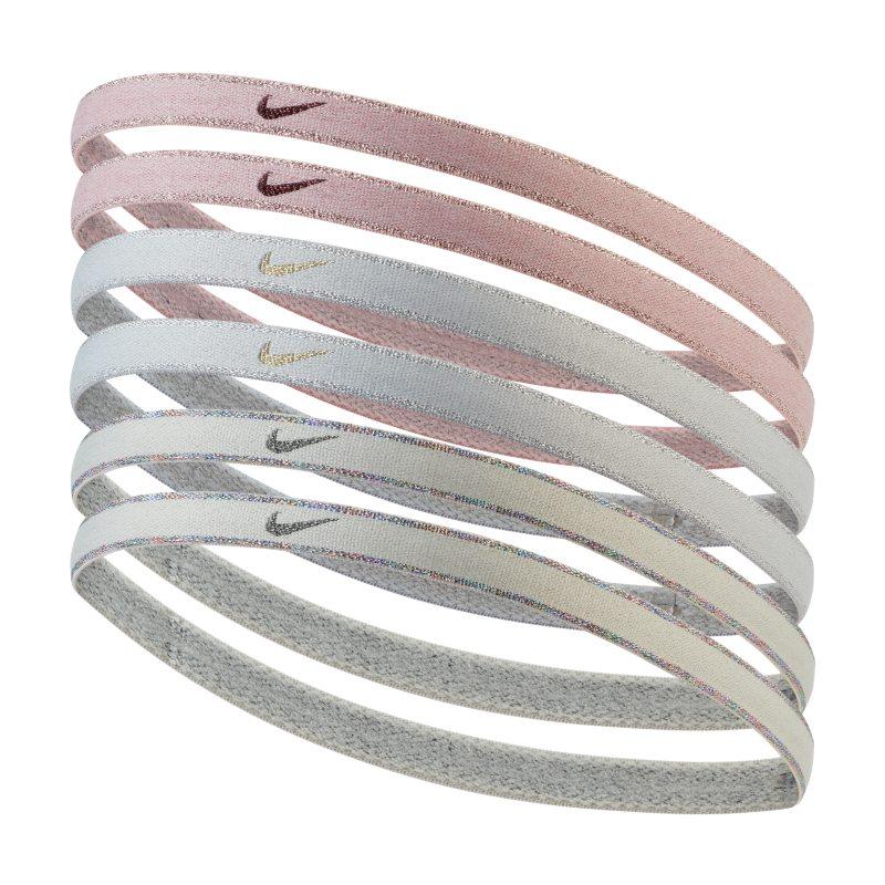 Nike Swoosh Sport Cinta para el pelo metalizada (paquete de 6) - Gris