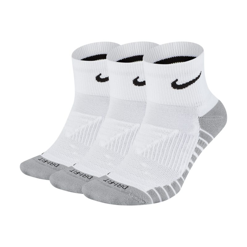 Nike Everyday Max Cushioned Calcetines de entrenamiento hasta el tobillo (3 pares) - Blanco