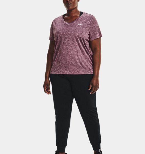 Camiseta de manga corta con cuello de pico y efecto difuminado UA Tech™ para mujer