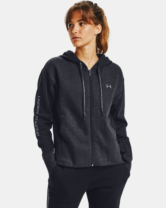 Sudadera con capucha y cremallera completa de tejido Fleece bordado UA Rival para mujer