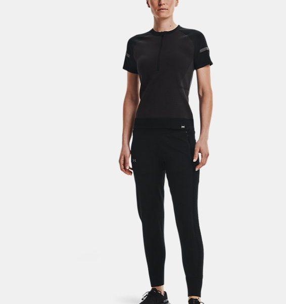 Camiseta de manga corta con cremallera corta UA IntelliKnit para mujer